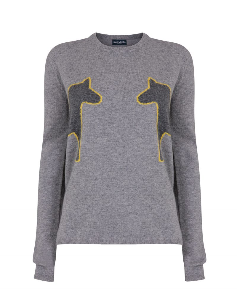 Image of a malin darlin 2 Pony designer cashmere jumper laid flat against a white background.