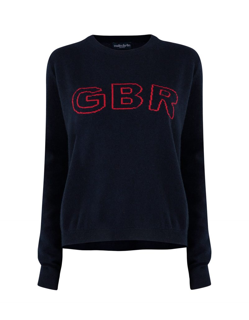A GBR designer cashmere jumper, part of the malin darlin cashmere knitwear collection, isolated on a white background.