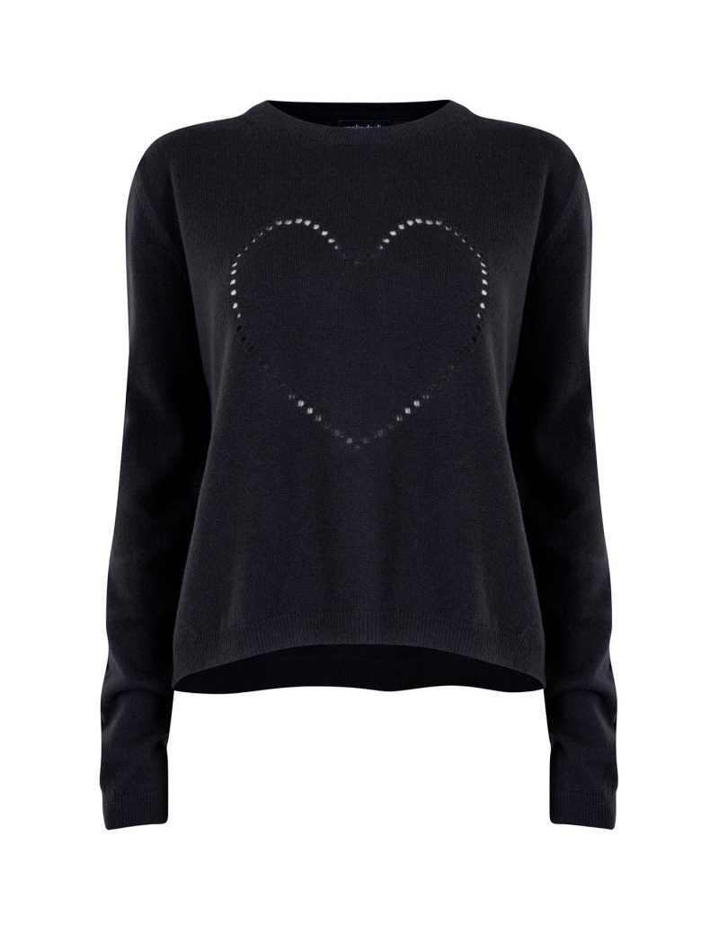 The black malin darlin Heart Holes cashmere jumper isolated on white.
