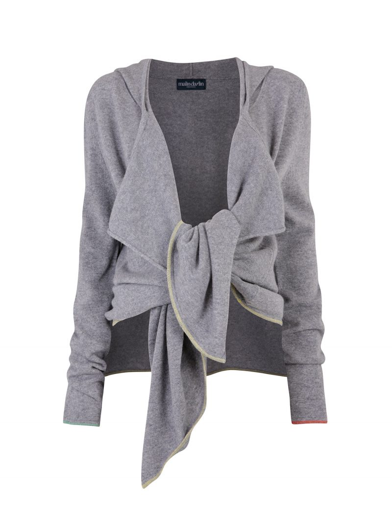 The malin darlin cashmere tie hoody pictured on a plain white background.