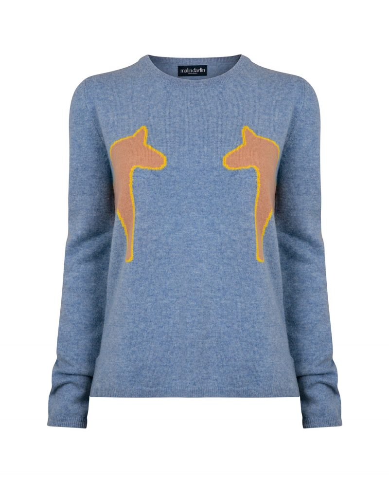 Image showing 2 pony blue cashmere jumpers, part of the malin darlin luxury cashmere, on a white background.