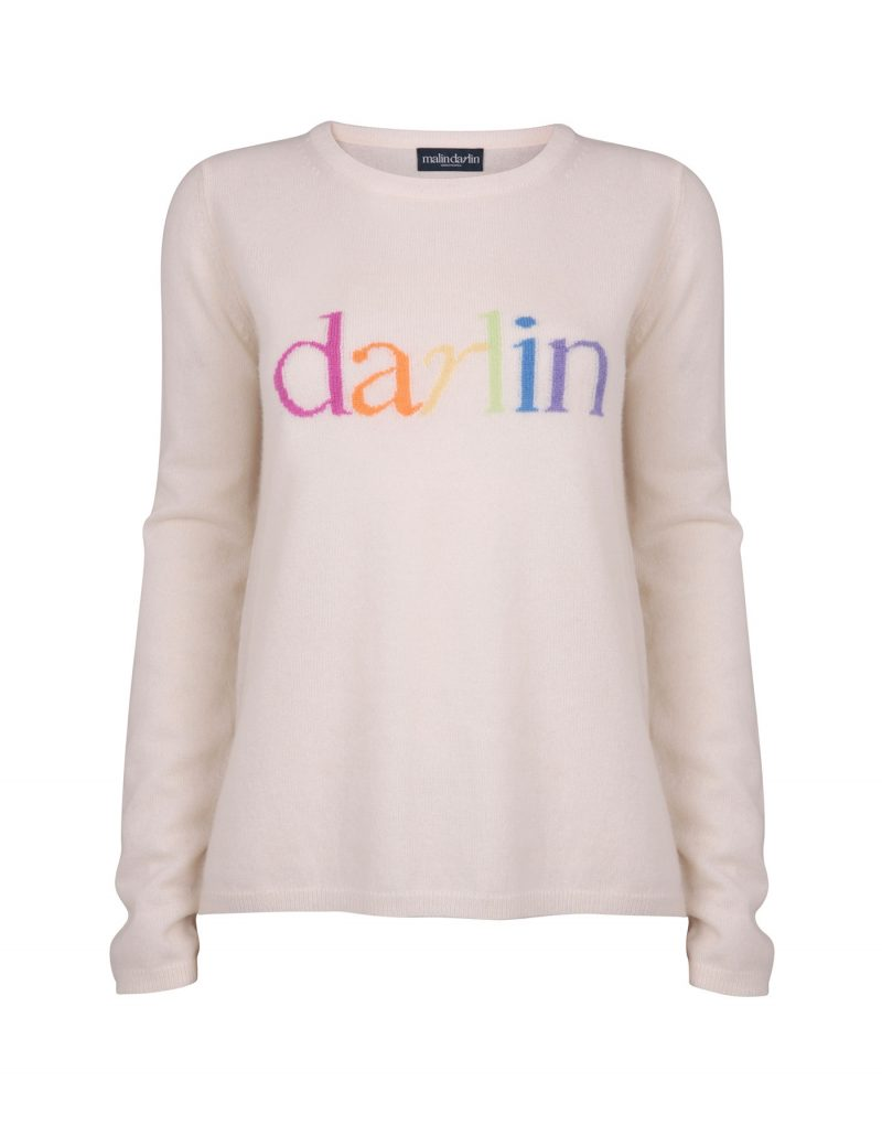 Image of darlin pastel cashmere knitwear, a signature style in malin darlin womens jumpers, against a white background.