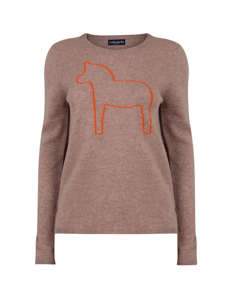 Photo of malin darlin Dalahast horse cashmere jumpers, a pony depicted on beige cashmere, against a white background.