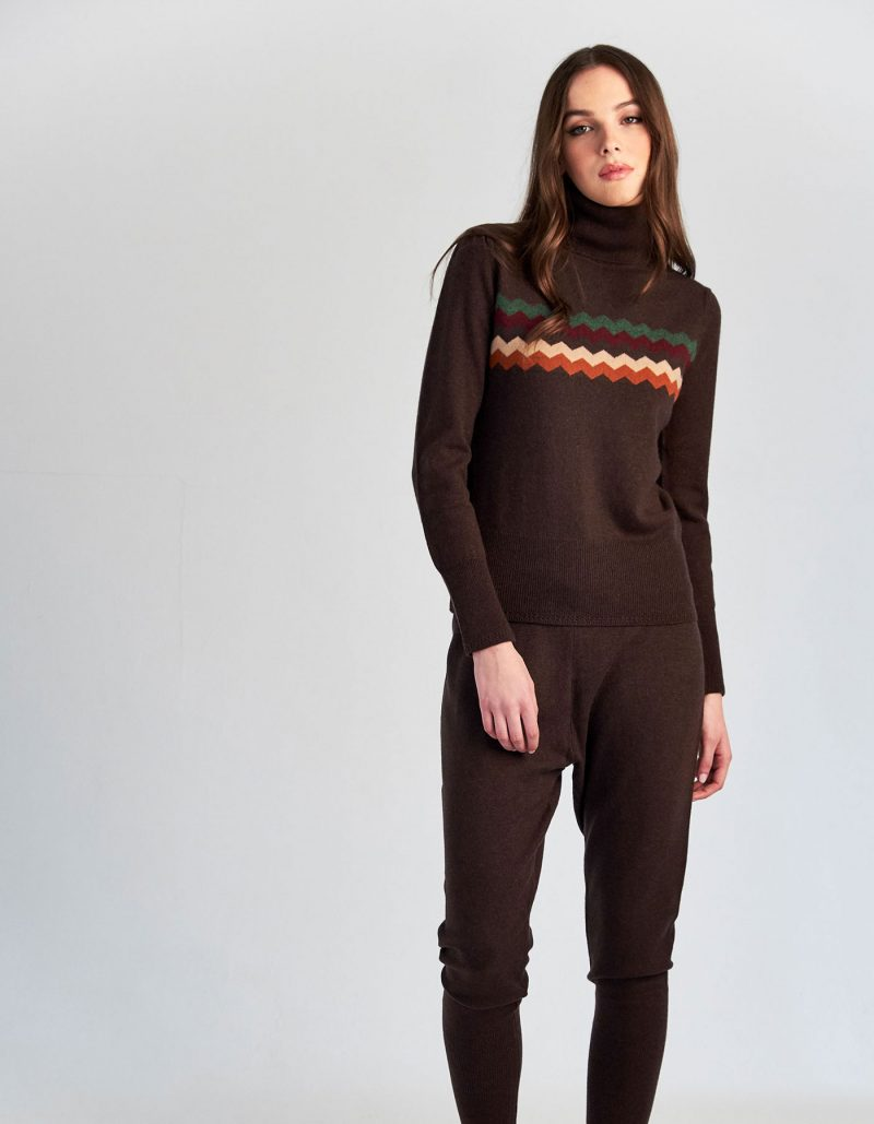 malin darlin Zigzag chocolate cashmere jumper.