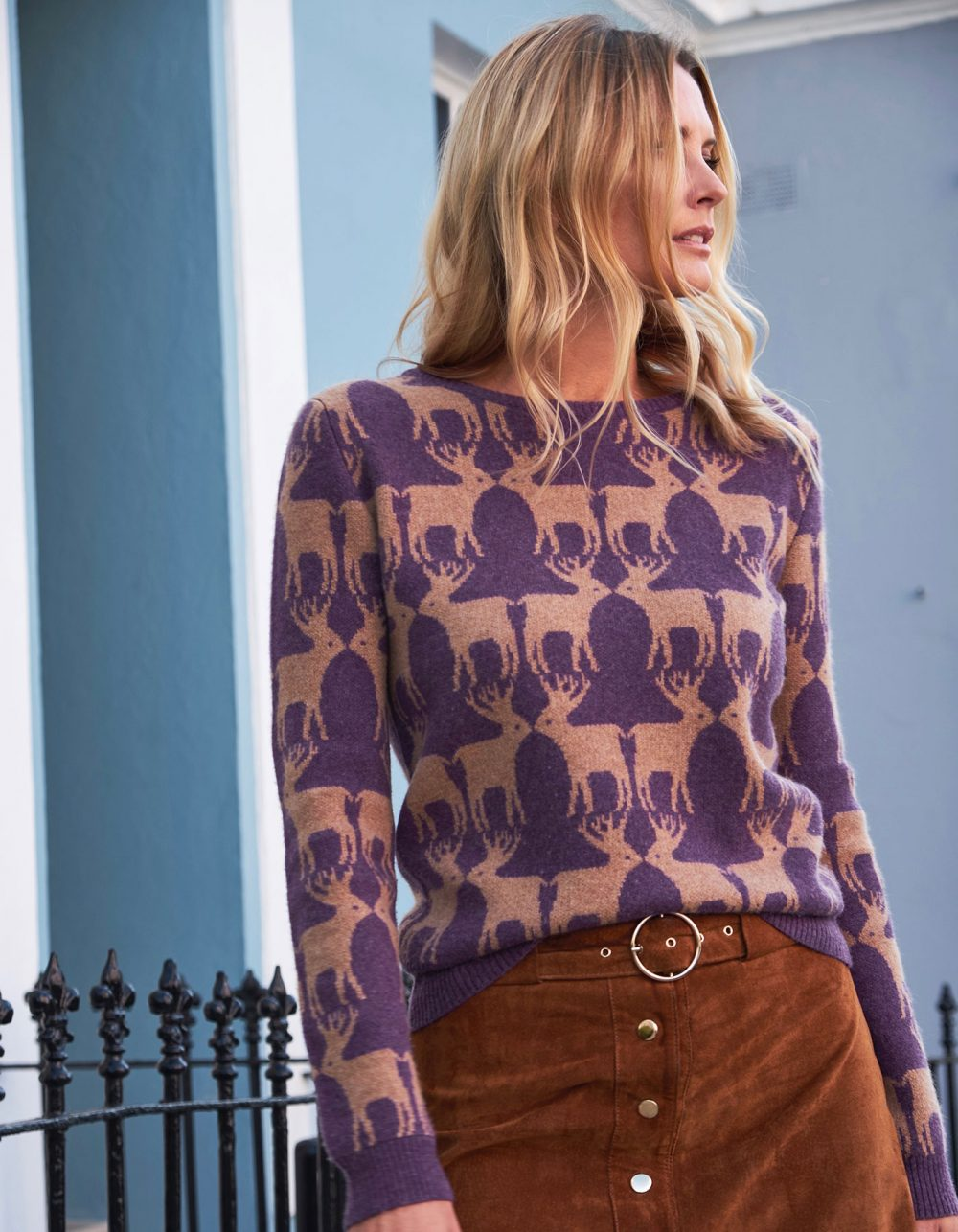 Woman by iron railings wearing cashmere knitwear, the malin darlin Reindeer purple cashmere jumper.