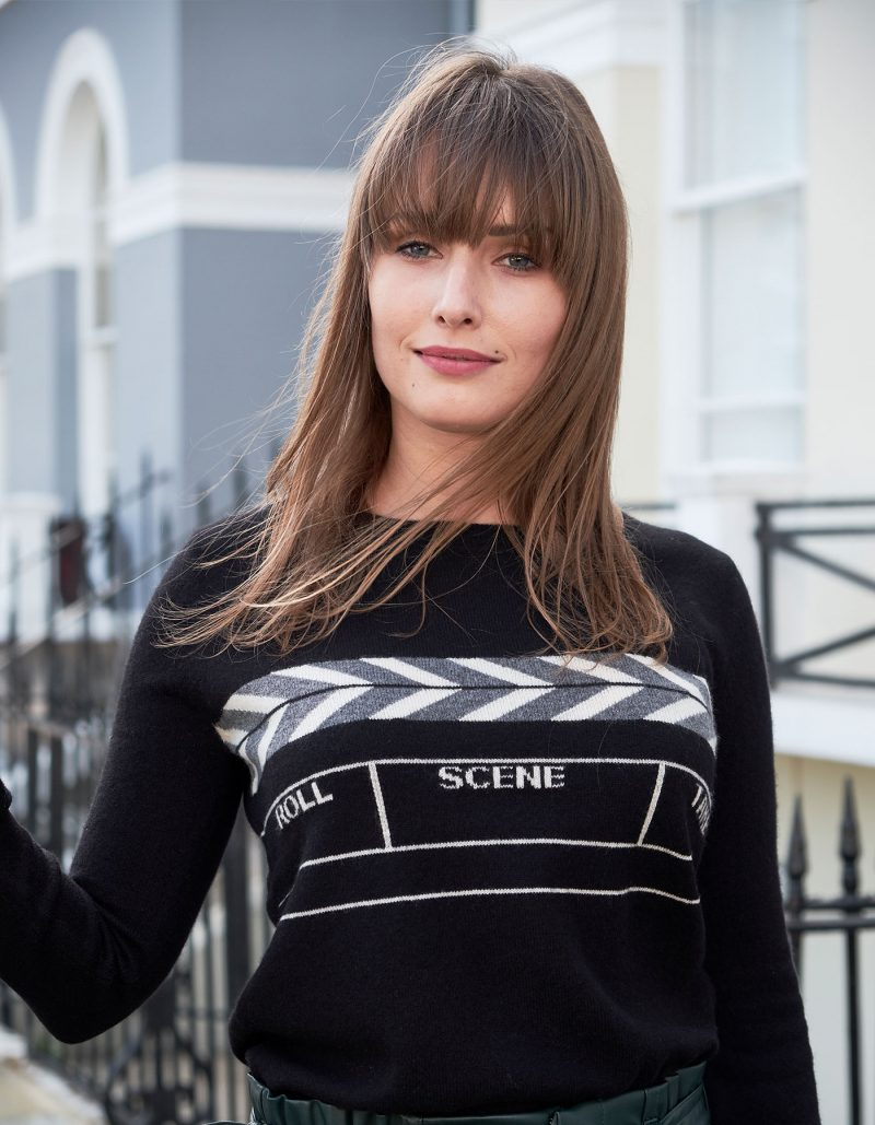 Model in designer knitwear, the malin darlin Scene womens cashmere jumper.