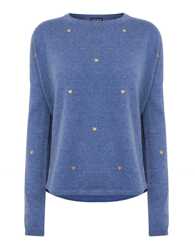 A photograph of the malin darlin Hundred Crowns blue cashmere jumper taken against a white background.