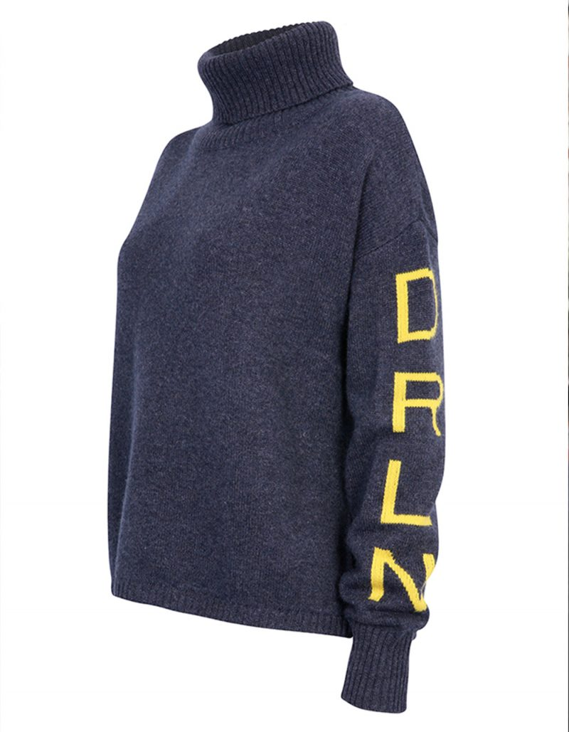 An image of malin darlin womens jumpers, the signature DRLN oversized cashmere jumper against a white background.