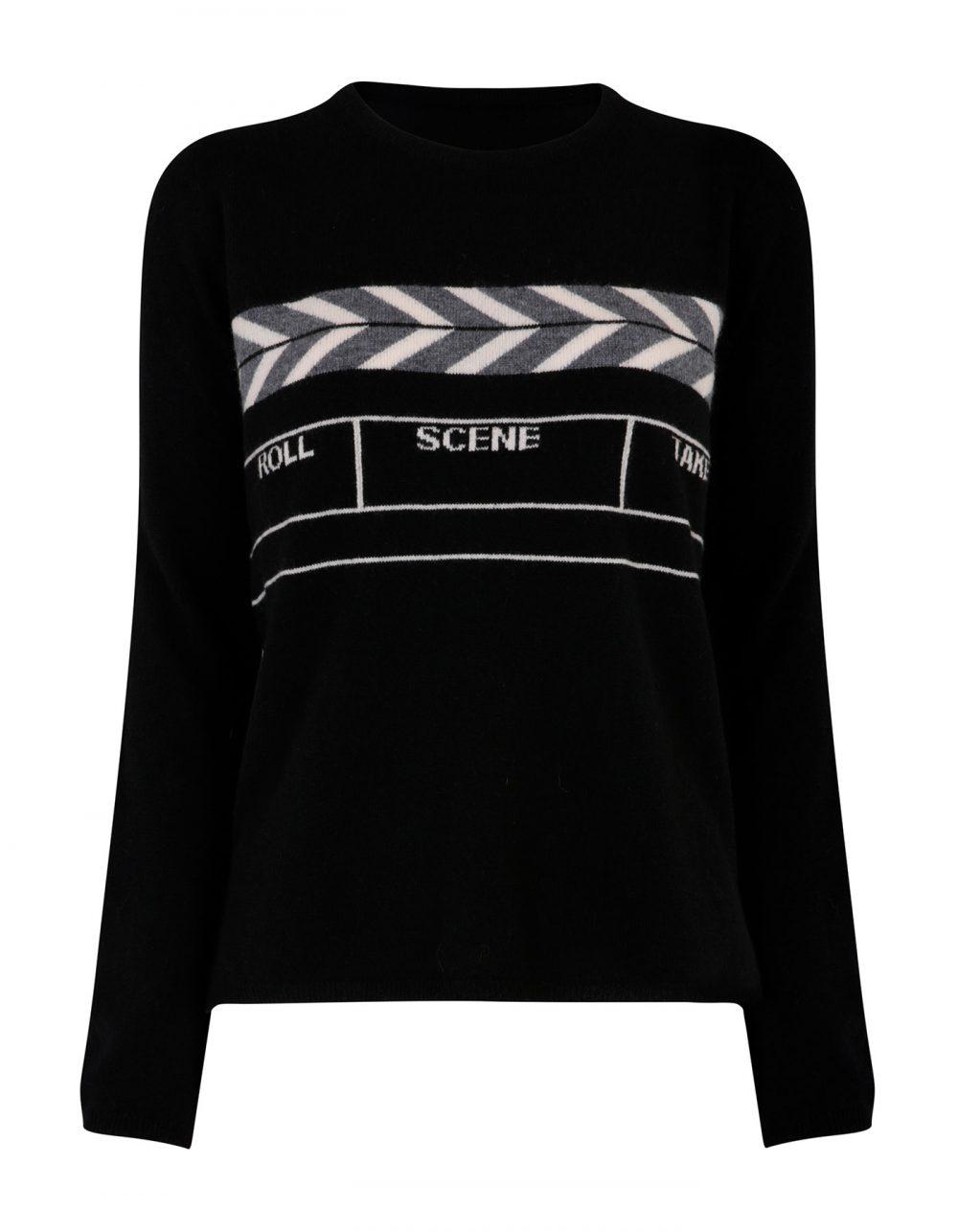 Designer knitwear, a malin darlin Scene womens cashmere jumper, laid flat on a white background.