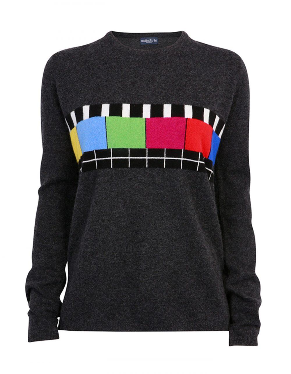 Designer knitwear, the malin darlin Test Bild charcoal cashmere jumper, laid flat on a white background.