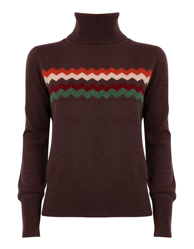 Image of malin darlin cashmere knitwear, the Zigzag chocolate cashmere jumper laid flat on a white background.