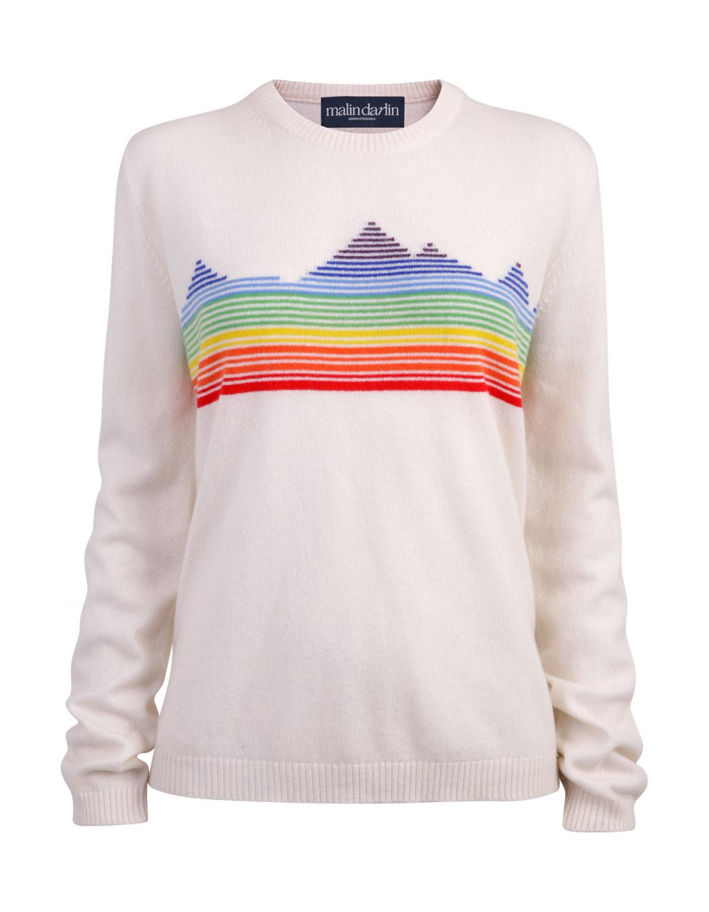Malin darlin and lady kilas charities Rainbow Mountain designer cashmere jumper laid flat on a white background.