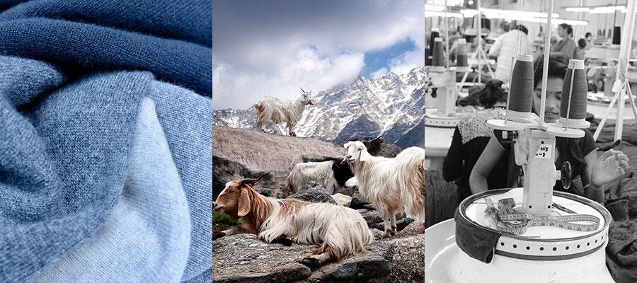 A montage of images demonstrating that malin darlin designer knitwear is responsibly made cashmere.