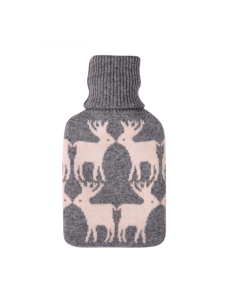 Malin darlin cashmere hot water bottle, laid flat on a white background.