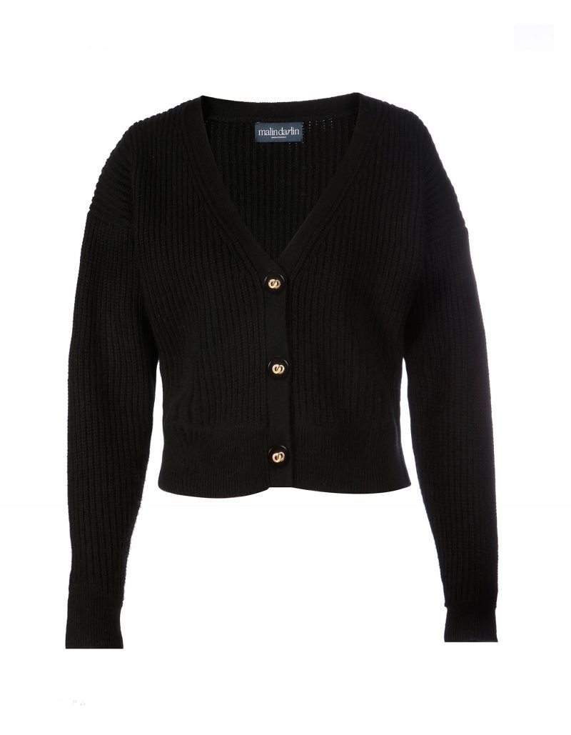 Image of a malin darlin black Coco rib wool and cashmere cardigan laid flat on a white background.