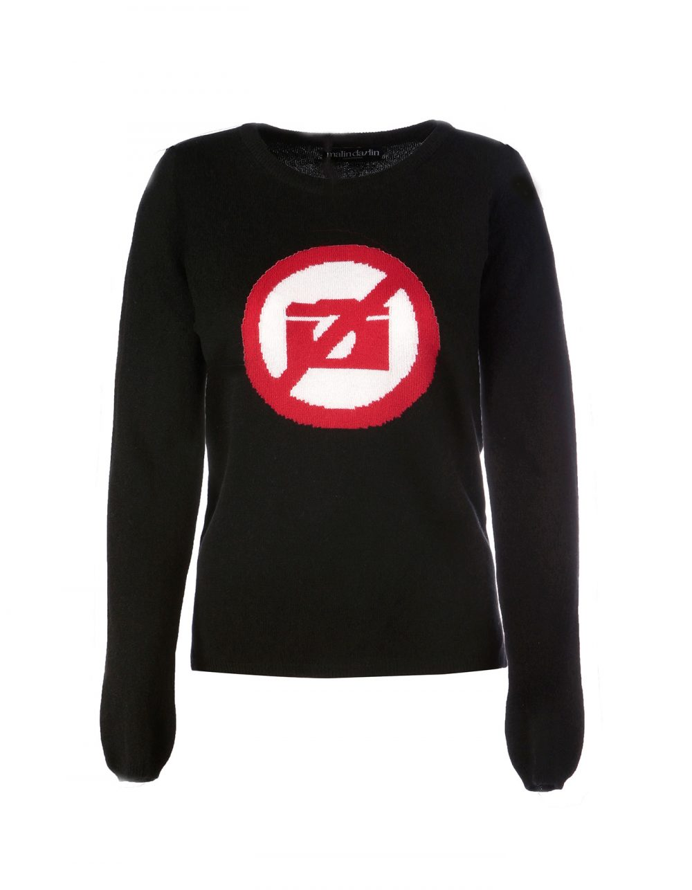 Malin darlin designer cashmere, the No Photos black cashmere jumper, laid flat on a white background.