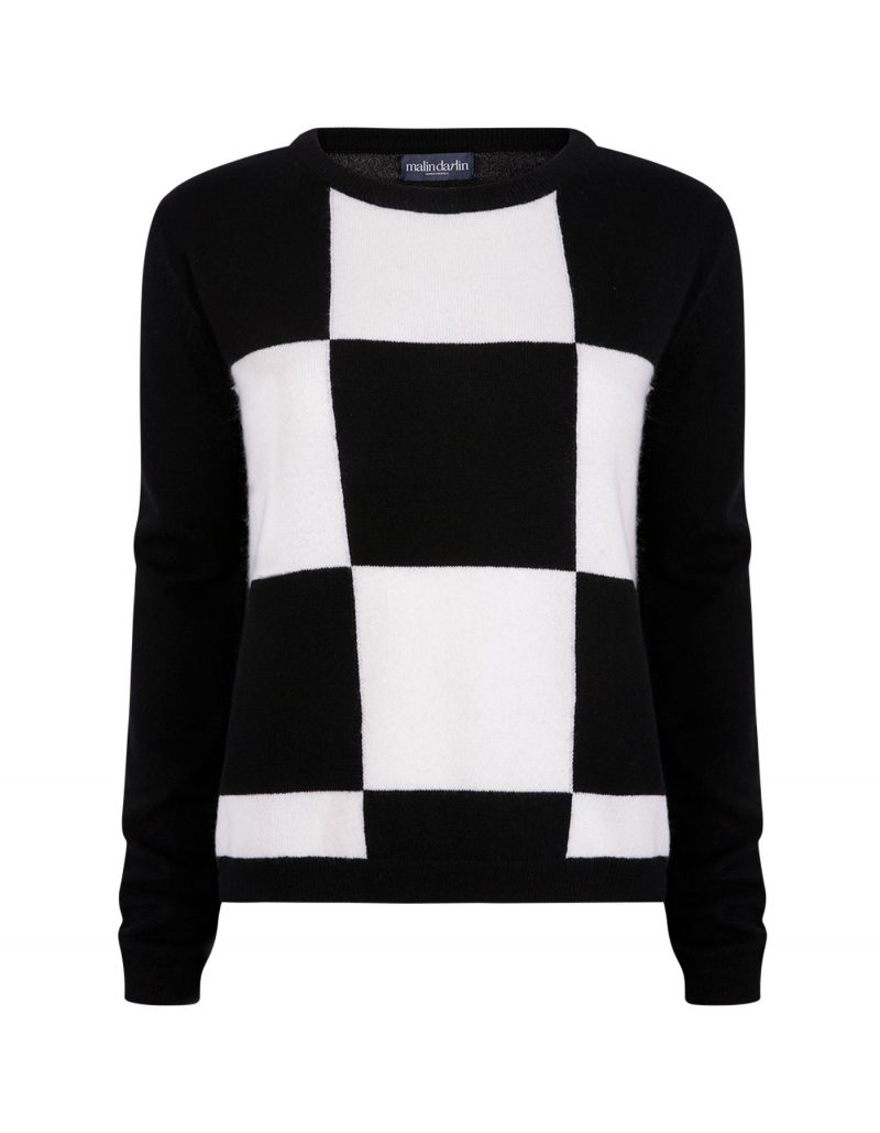 Gambit black and white check cashmere jumpers.